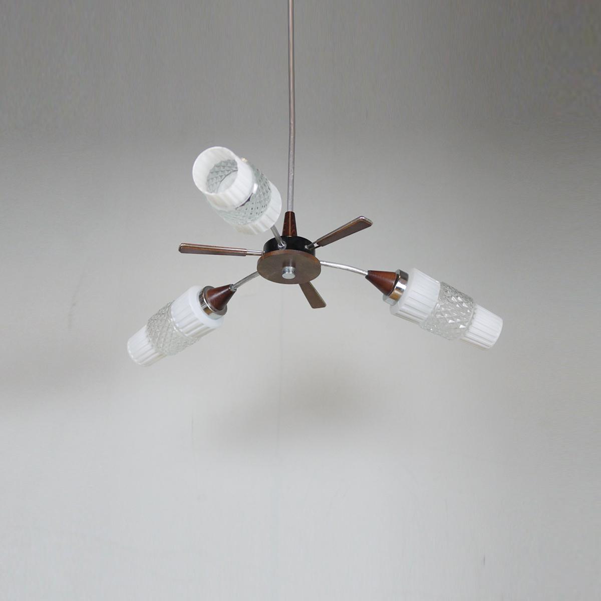 Vintage Chandelier Glass Wood Three Arm Space Age Lighting Mid Century Center Ceiling Light Unknown Unknown Vinterior