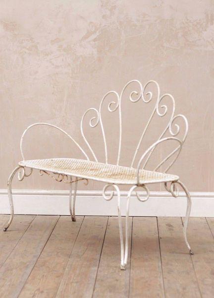 Antique Vintage Rustic French Decorative Garden Bench / Loveseat