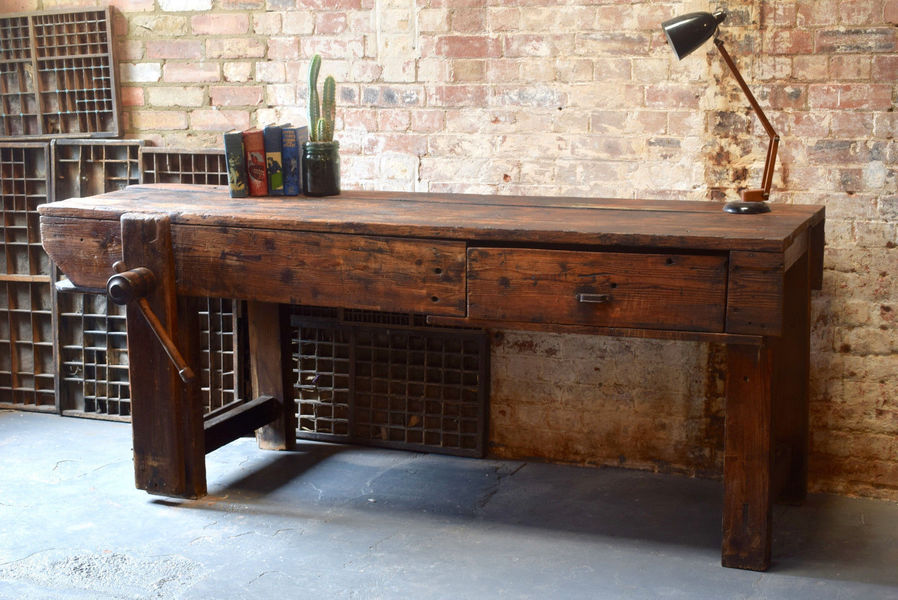 Fine Vintage Industrial Work Bench Antique Wooden Vice Rustic Table 7 Ft Can Deliver Beatyapartments Chair Design Images Beatyapartmentscom