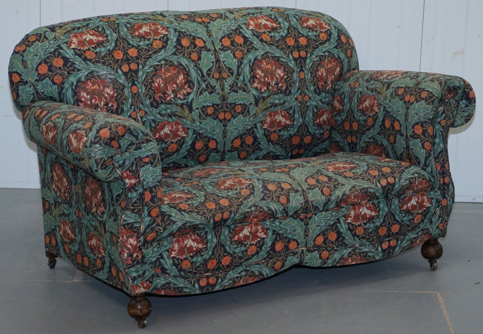 Peachy Victorian Drop Arm Club Sofa In William Morris Upholstery Fabric Part Of A Suite Download Free Architecture Designs Scobabritishbridgeorg