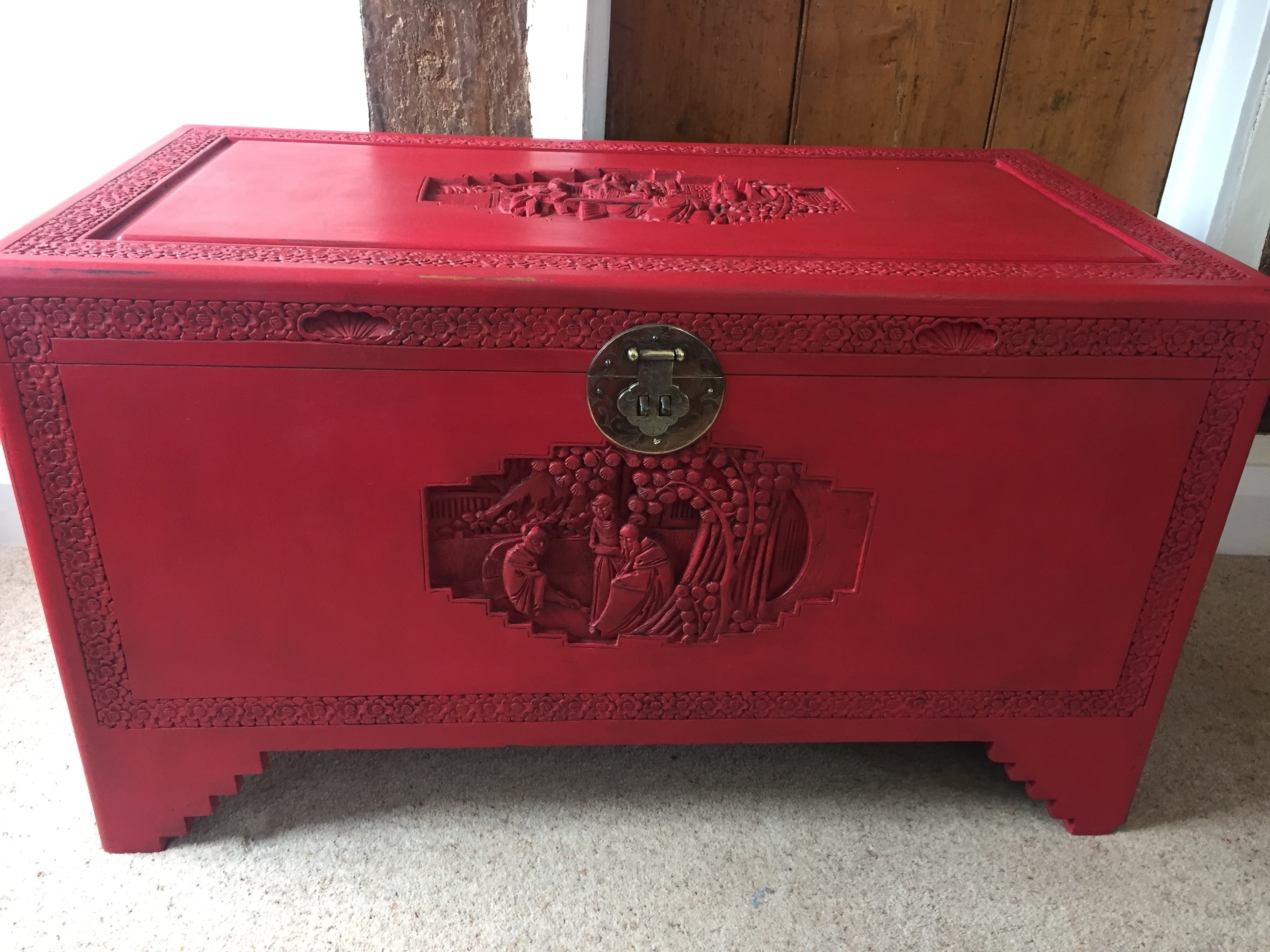Awe Inspiring Antique Chinese Shabby Chic Red Painted Camphor Wood Chest C 1940S Download Free Architecture Designs Lukepmadebymaigaardcom