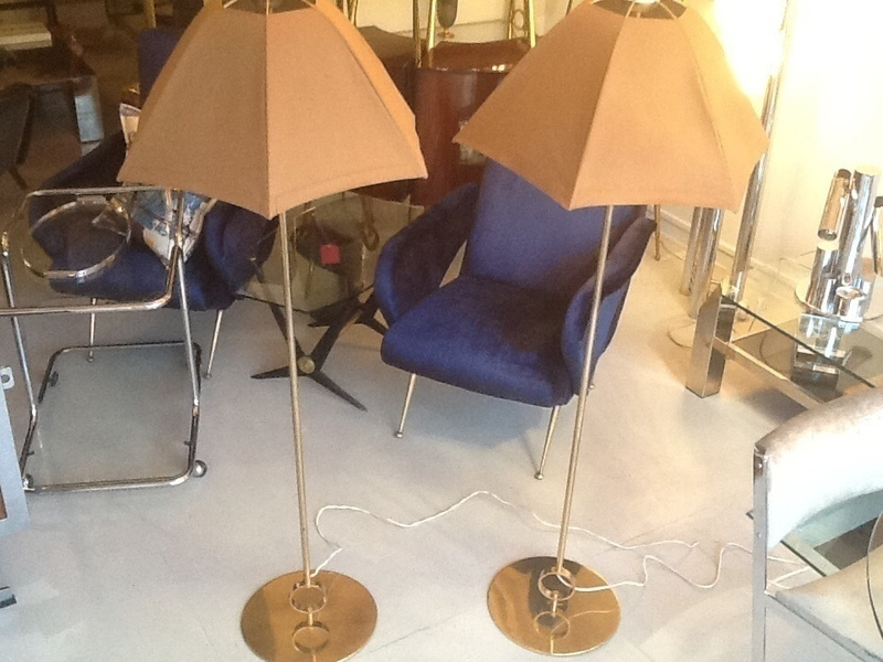 Pair Of Belgium Brass Floor Lamps