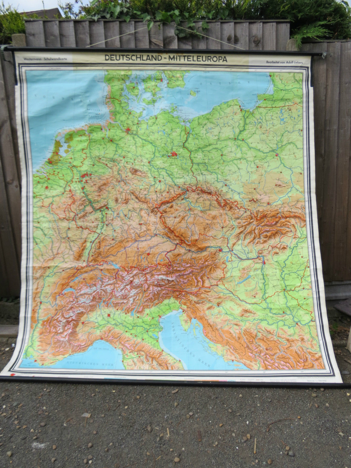 Geographical Map Of Germany.Vintage Pull Down Geographical School Wall Map Of Germany And Middle Europe