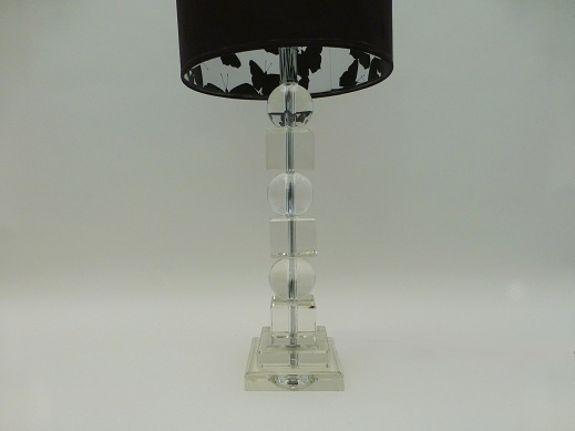 Pair Of Large Crystal Lamp Bases Including Shades