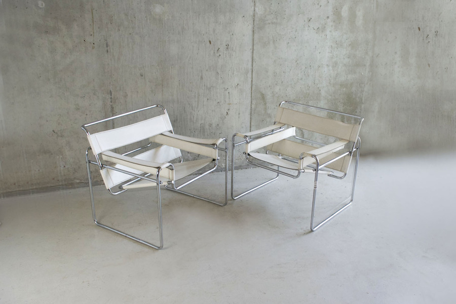 Pair Of Original 1960/70's White Leather Wasilly Chairs By Marcel Breuer