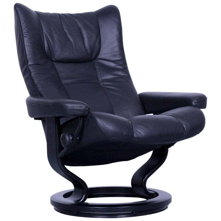 Fantastic Ekornes Stressless Wing Armchair Black Leather Modern Recliner Chair Designer Onthecornerstone Fun Painted Chair Ideas Images Onthecornerstoneorg