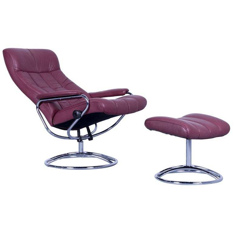 Stupendous Ekornes Stressless Armchair Set And Foot Stool In Red Leather Recliner Creativecarmelina Interior Chair Design Creativecarmelinacom
