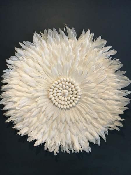 A Stunning All Feather Juju Hat White/Cream