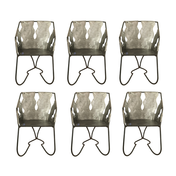 A Set Of 6 Custom Made Wrought Iron Chairs