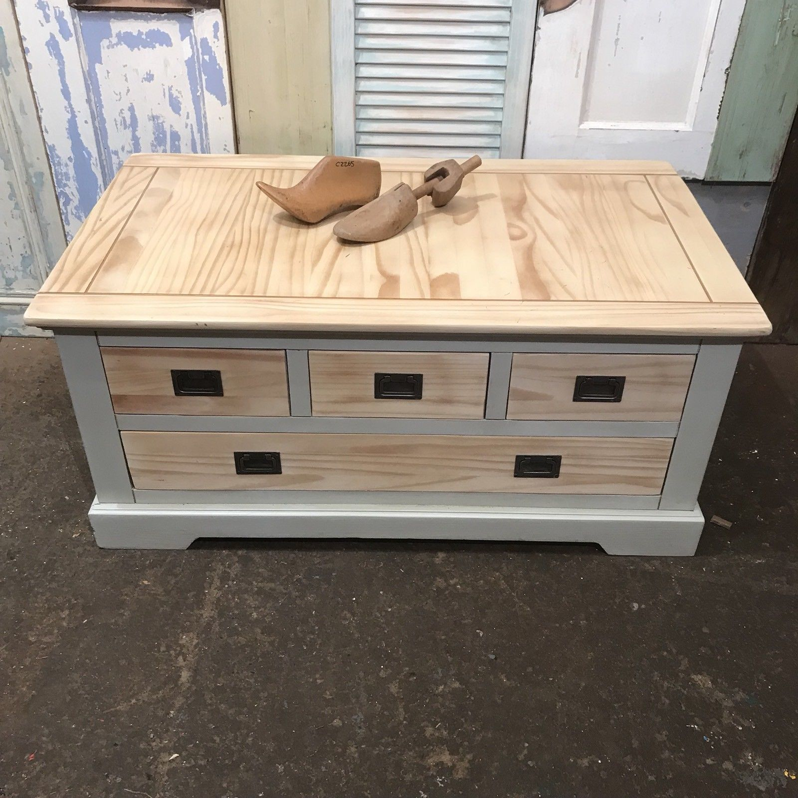 Painted Pine Coffee Table W Drawers Shabby Chic Double Sided