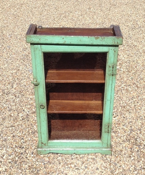 Antique Indian Green Wooden Wall Cabinet, From Rajasthan.