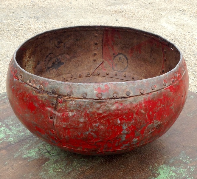 Vintage Red Iron Bowl, From Rajasthan, India