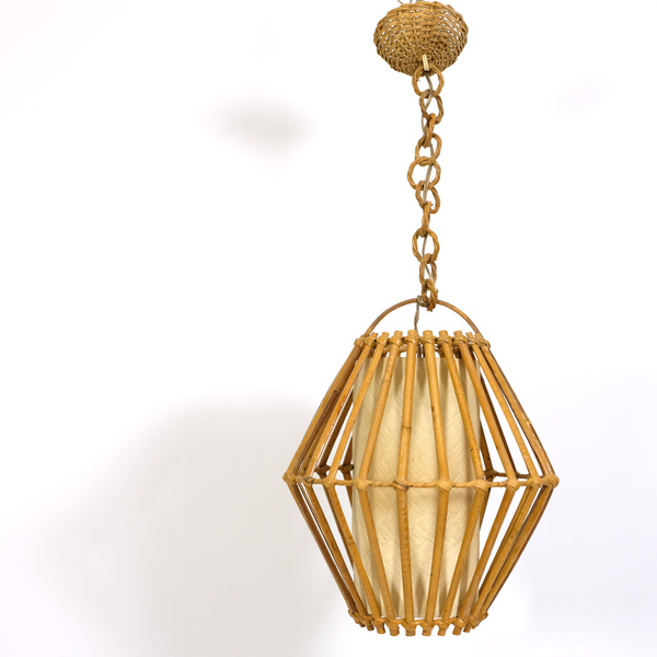 Rattan Pendant Produced In France In The 1960's 1970's.