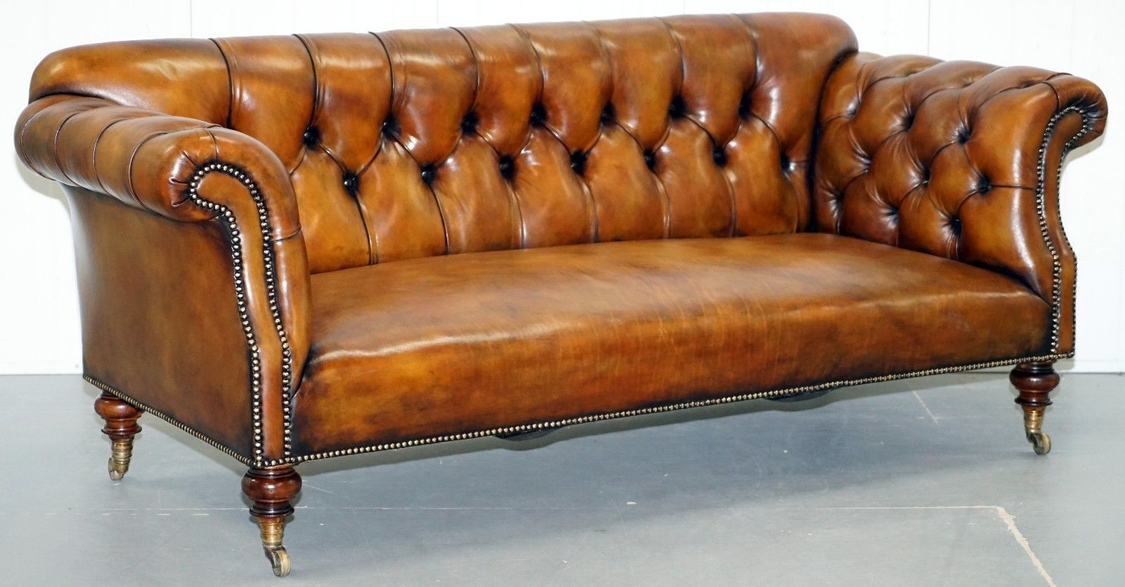 Very Rare Victorian Howard Sons Fully Restored Brown Leather Chesterfield Sofa