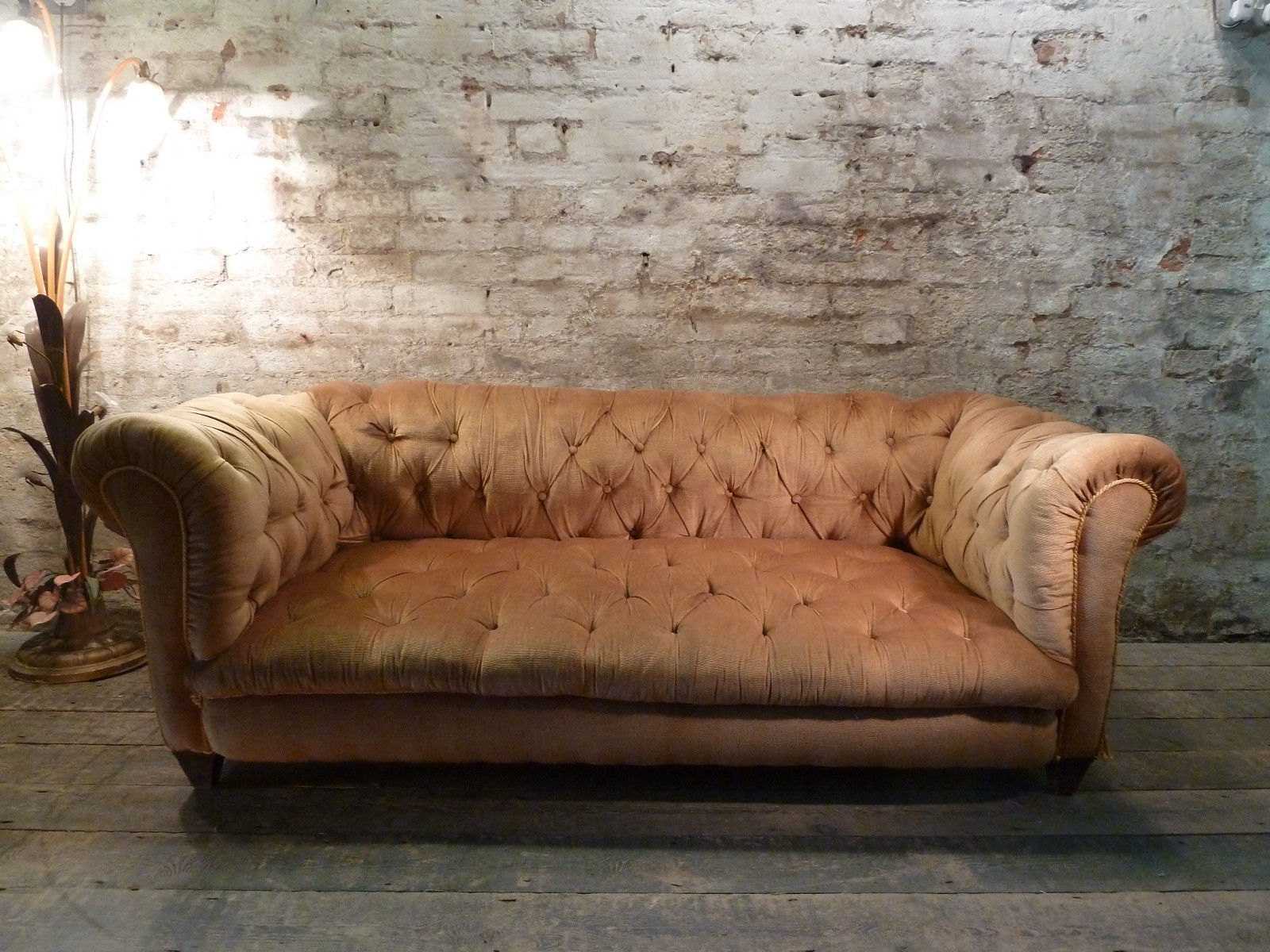 Groovy Gold Dralon Velvet Antique Chesterfield Vintage Sofa Mid Century Gmtry Best Dining Table And Chair Ideas Images Gmtryco