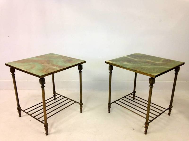 Pair Of Brass And Faux Onyx Side Tables