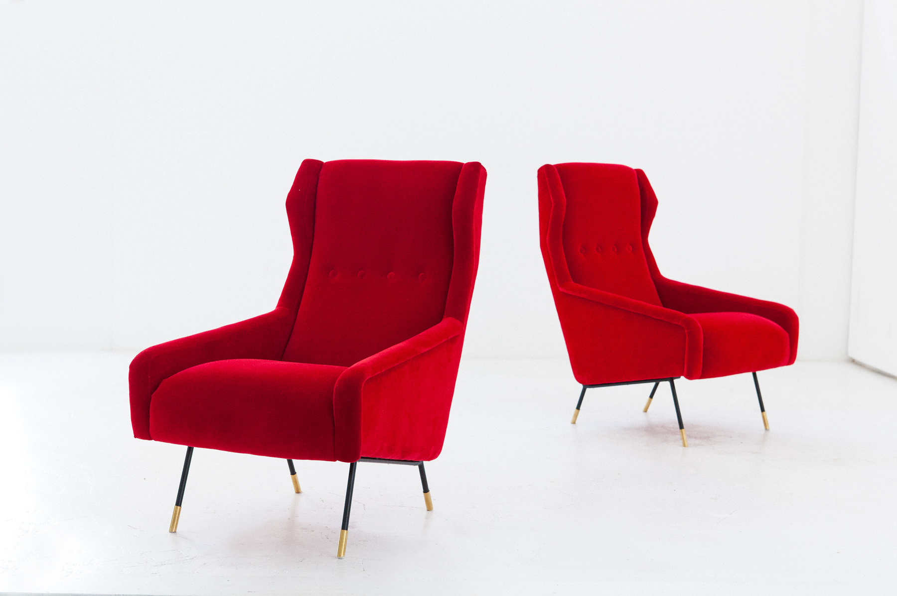 Pair Of Italian Red Velvet Brass And Iron Lounge Chairs 1950s Wingback Hight Back Armchairs
