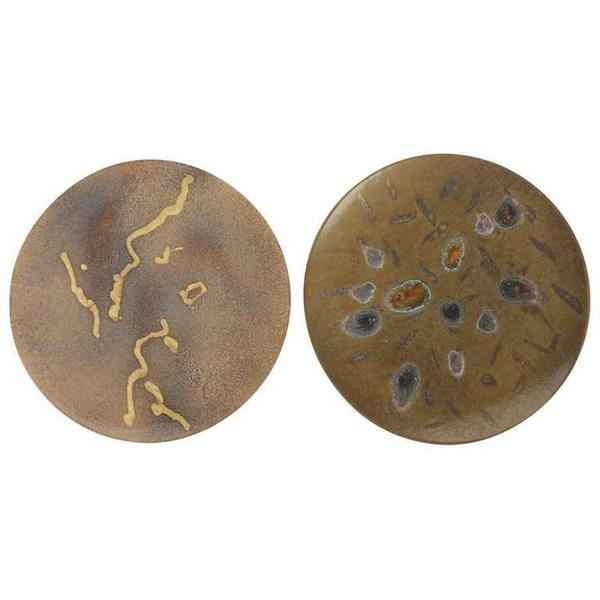 Two Hand Painted Abstract Ceramic Plates By 'Alan Beitner' Signed