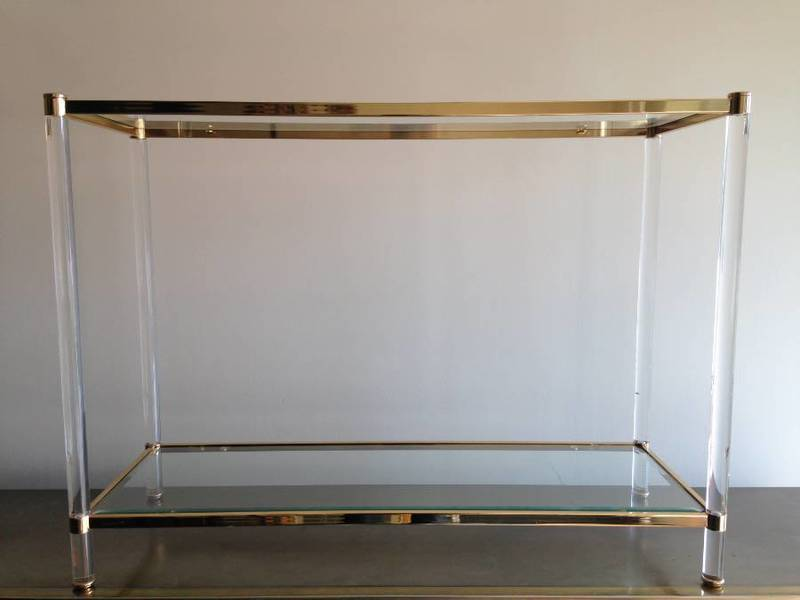 Gilt Metal And Lucite Console Table