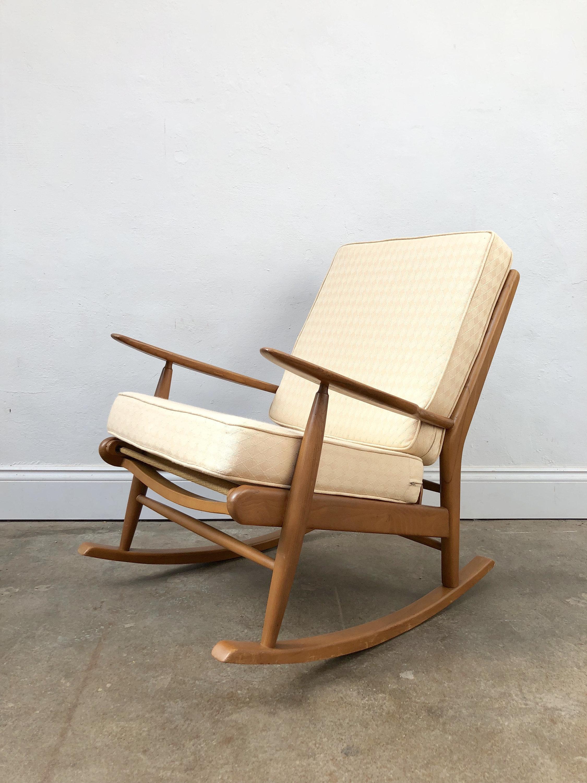 Image of: Vintage 1960s Scandart Teak Danish Rocking Chair Retro Mid Century Scandart Vinterior