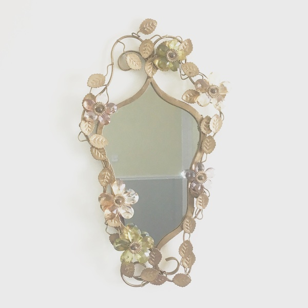 Small Vintage Hanging Gold Metal Mirror With Floral Detail