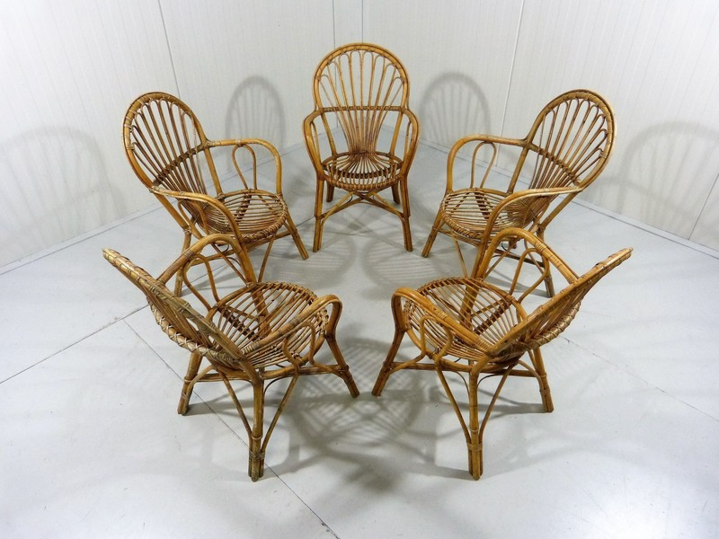 Set Of 5 Rattan Chairs, Garden Chairs