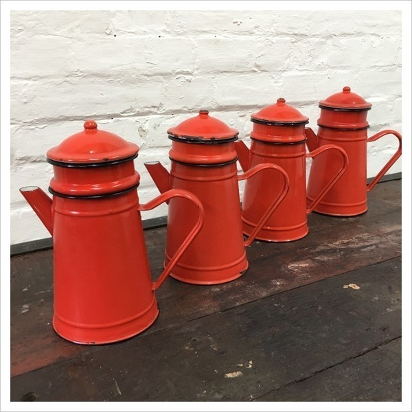 Red French Enamel Coffee Pot