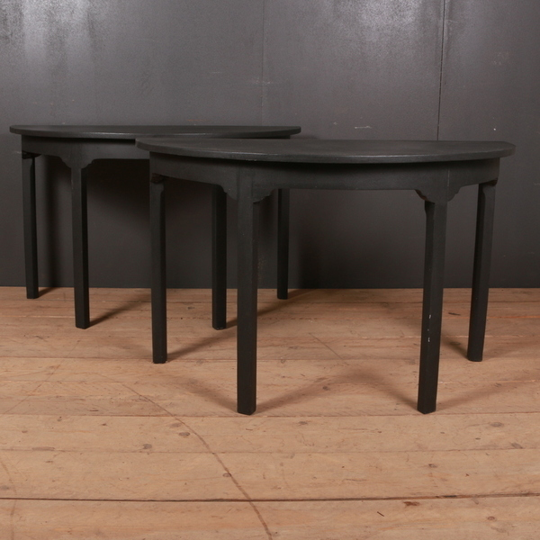 Pair Of 18th C English Painted Demi Lune Console Tables 1790