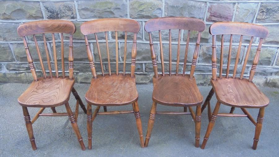 Antique Set 4 Elm Farmhouse Kitchen Chairs