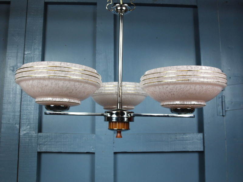 Vintage Antique Art Deco 1920s 30s Ceiling Light Chandelier