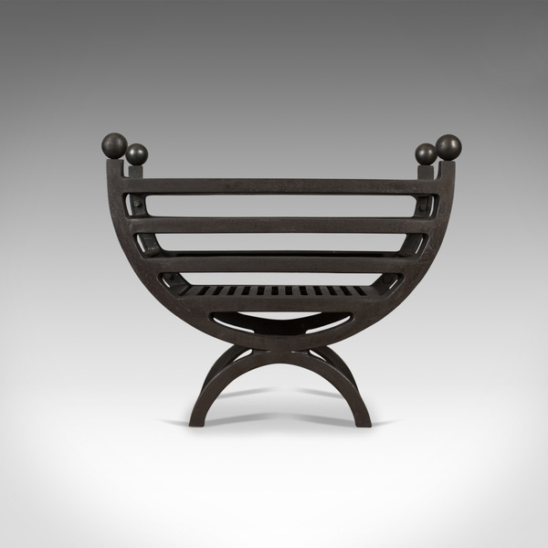 Contemporary Fire Basket, English, Fireplace Accessory, Iron Grate