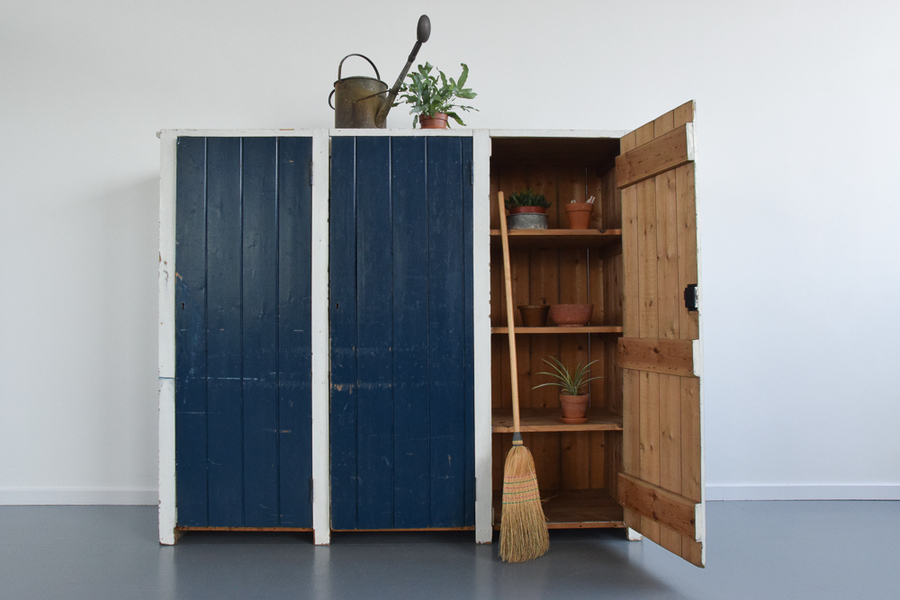 Vintage Large Rustic Blue And White Painted Pine Three Door Cabinet