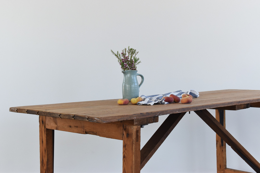 Vintage Rustic Wooden Folding Trestle Table