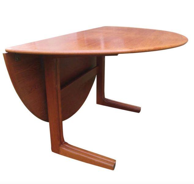 60s Amazing Rare Unusual Danish Mid Century Drop Leaf Teak Round Dining Table