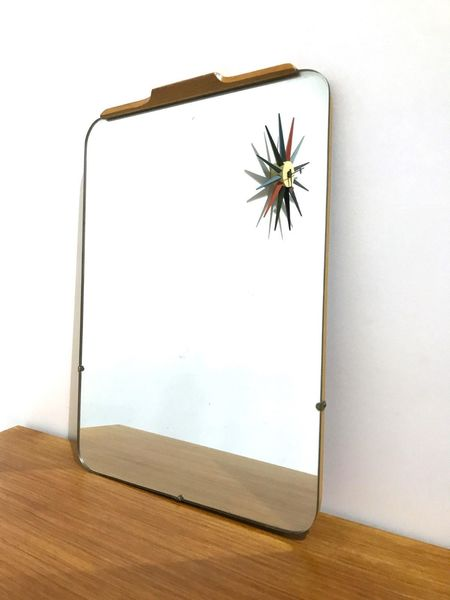 60s Small Partially Framed In Oak Wall Mirror
