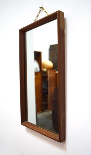 60s Small Mid Century Danish Inspired Afromosia Framed Wall Mirror With Chain