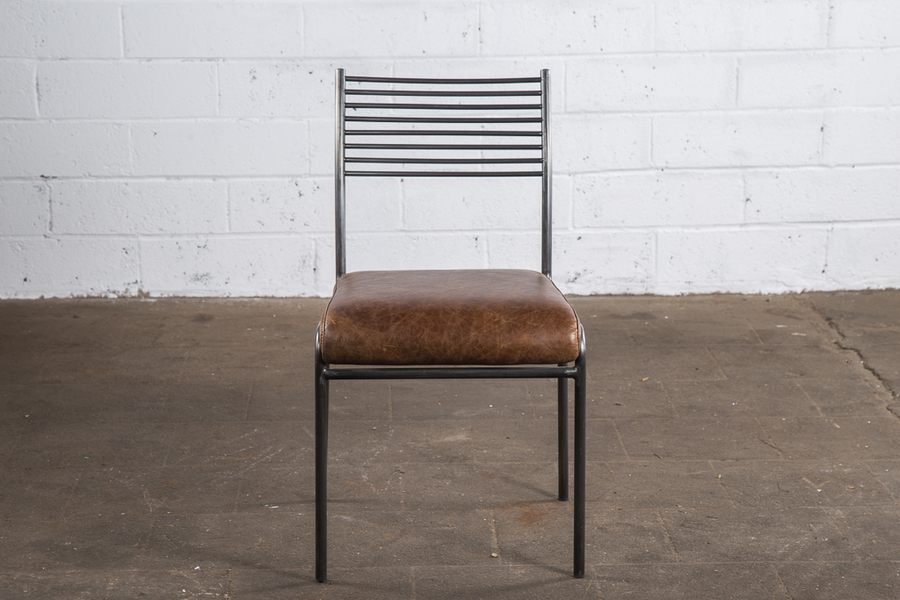 School Style Dining Chair In Leather & Metal