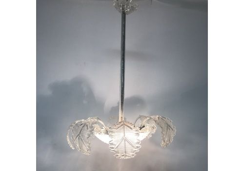 Details about 1940's ITALIAN VENETIAN MURANO GLASS CHANDELIER PRISMS RIBBONS EARLY MID CENTURY