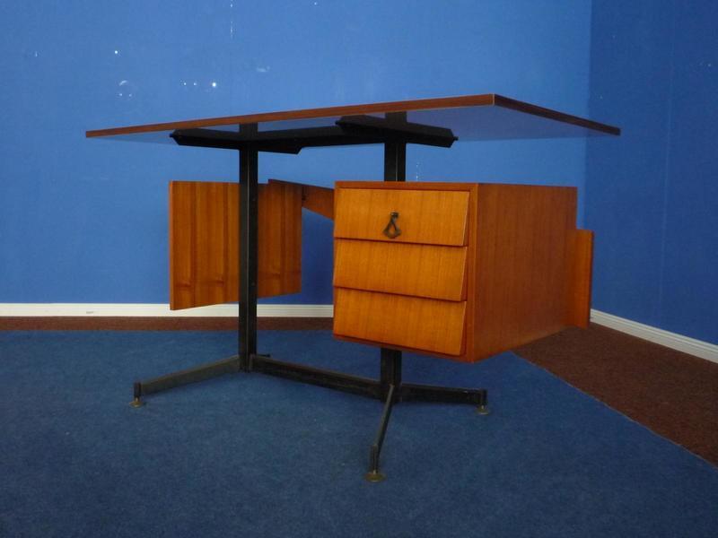 Mid Century Italian Teak And White Formica Desk, 1950s