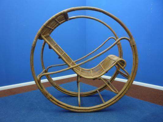 Rattan & Wicker Rocking Chair, 1960s