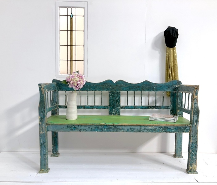 Antique Early 20th Century Wooden Bench In Original Paint
