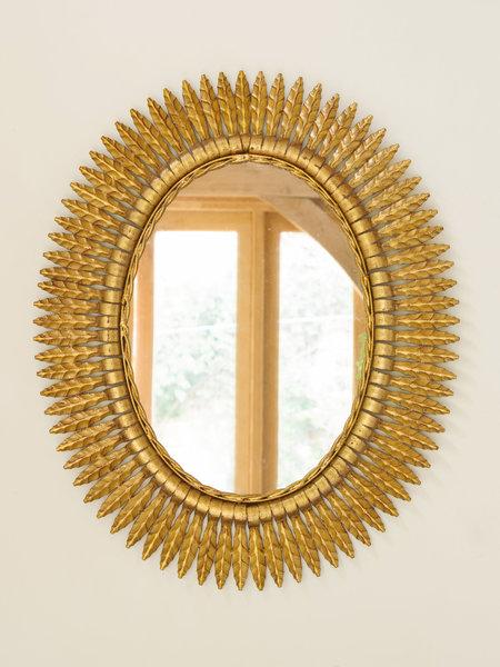 Mid Century Spanish Gilt Iron Sunburst Mirror