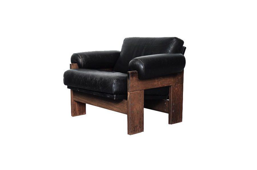 Model Sz73 Black Leather & Wenge Lounge Chair By Martin Visser For 'T Spectrum, 1960s