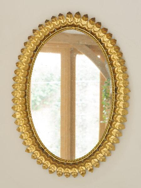 Mid Century Spanish Gilt Metal Sunburst Mirror