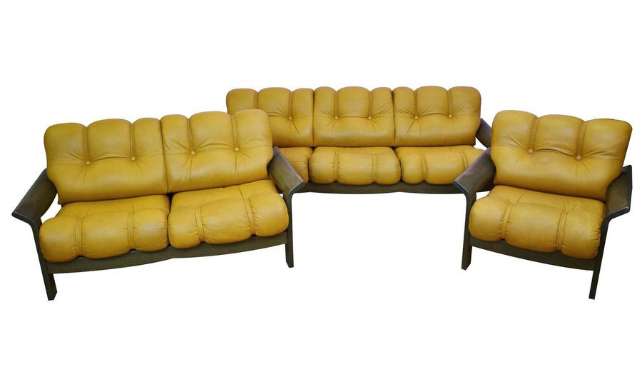 Mid Century Retro Norwegian Tan Leather Sofa & Lounge Chair 3 Piece Suite 1970s
