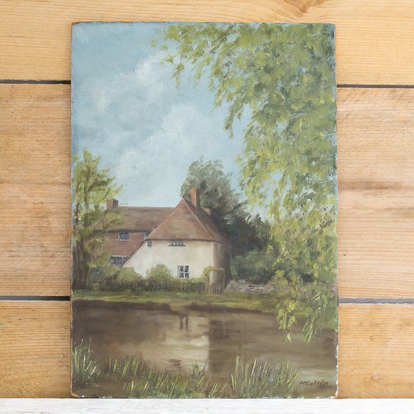 Cottage By Pond Oil Painting