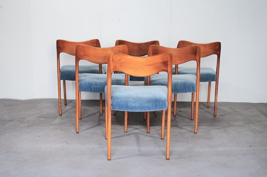 Model 71 Dining Chairs By Niels Otto Moller For Moller Models, 1960s, Set Of 6