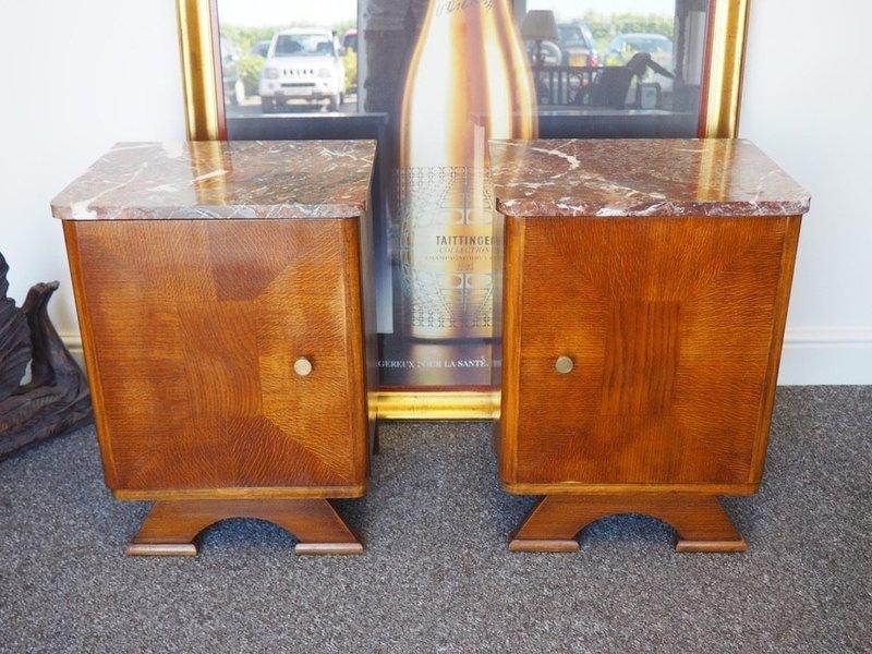 Pair Of Art Deco Bedside Cabinets Oak Base & Marble Tops