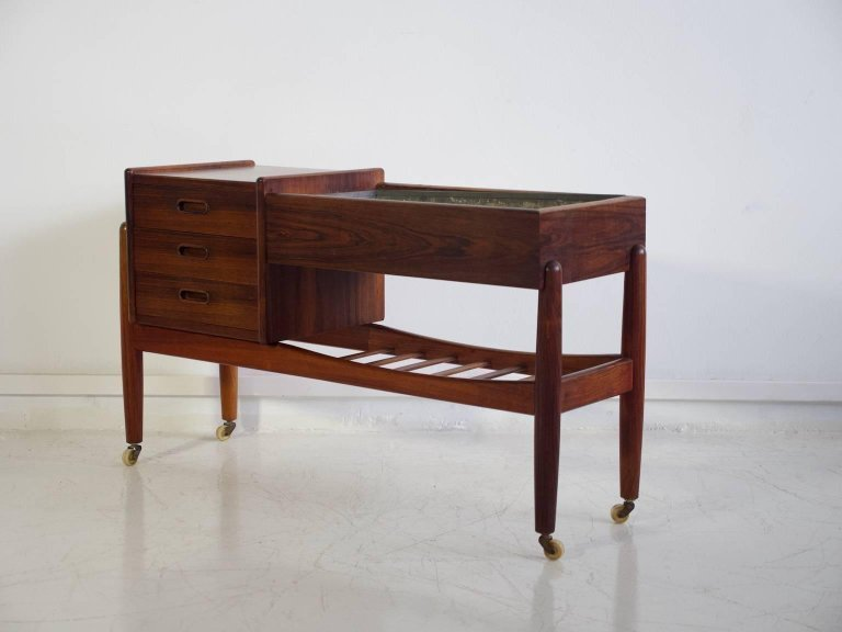 Arne Wahl Iversen Console With A Planter And Three Drawers