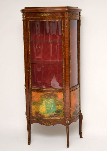 Antique French Style Ormolu Mounted Display Cabinet